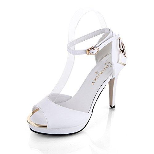 Die neuen weißen Blüten seitlichen Luft Sandalen High Heels Schuhe fein mit Höhe mit Fischkopf Frauen Schuhe , white , 36
