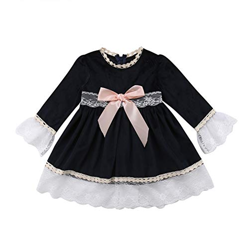 Infant Baby Girl Party Dress Flare Sleeve Bowknot Lace Splicing Skirt Tutu Princess Dresses (2-3 Years, Navy Blue Princess Dress with Pink Bow-Knot)