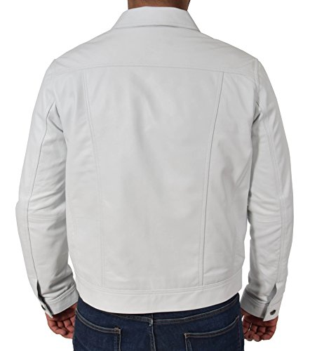 hombre cuero denim para Solo de Chaqueta real para blanco color ajustada suave estilo camionero 7qHIF5xFZw