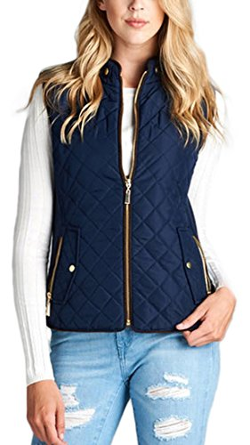 Piping Quilted Women's Vest ToBeInStyle Dark Detail With Padded Suede Navy TYPBxwOq