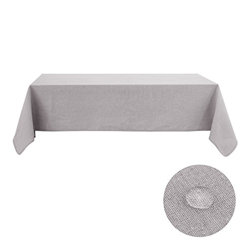 Deconovo Linen Tablecloth 60 x 126 Inch Rectangular Recycle Cotton Light Grey Tablecloths For Rectangle tables Light Grey