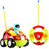 Haktoys My First RC Cartoon Race Car - Radio Control Toy for Toddlers, Kids, Boys & Girls with Music and LED Headlights