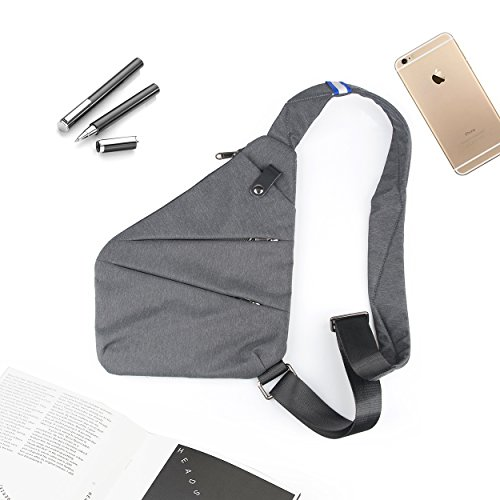 Messenger Bag Shoulder Bag Big Storage Anti-Theft Ultra-Thin for Business Sports nylon gray, by LC Prime