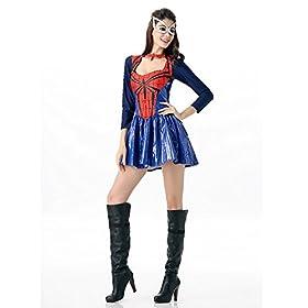 - 41sca62JNCL - POP Style Women's Halloween Spidergirl Dress Spiderman Cosplay Costume