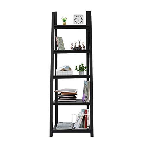 - Coismo Espresso Ladder Functional Shelf Wooden 5-Tier Storage Bookcase Decorative Living Room, Bathroom, Office