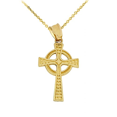 High Polish 10k Yellow Gold Celtic Cross Pendant Necklace, 18