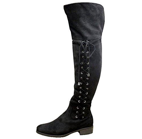 Daim femme Styles 35 5 noir noir Bottes cuissardes Saute nX4gZCZ