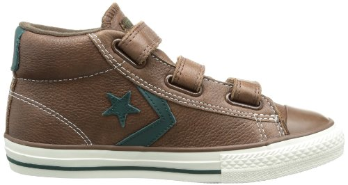 Converse Star Player 3V Leather Mid - Zapatillas de Deporte de cuero Infantil marrón - Marron (Marron/Vert)