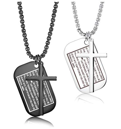 Jstyle 2Pcs Stainless Steel Cross Necklace for Men Boys Bible Verse Prayer Dog Tag Pendant Necklace, Christian Jewelry 24Inches
