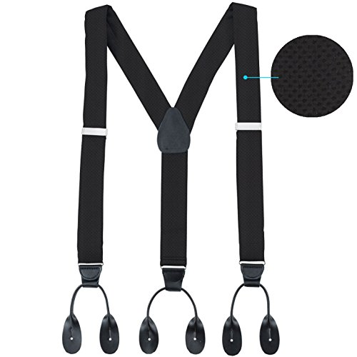 Hold'Em 100% Silk Suspenders Men Y-Back Fancy Solid Button End-Black Pin Dot ()