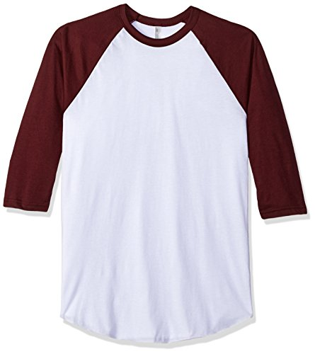American Apparel Mens Poly-Cotton 3/4 Sleeve Raglan Shirt
