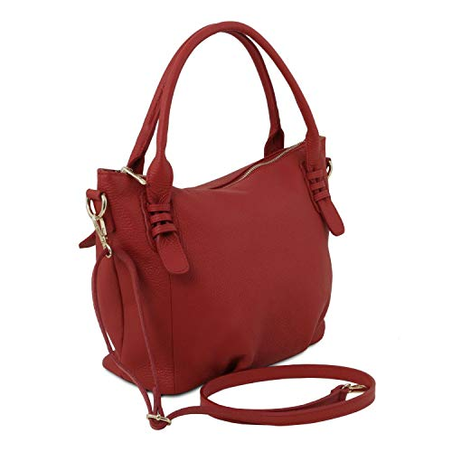 Azul Bolso TLBag Piel Rojo Oscuro a Leather Mano en Tuscany Suave n487T7