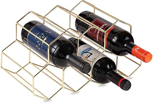 DCIGNA Gold Wine Rack Countertop, Freestanding Bottle Holder, Tabletop Wine Rack 7 Bottles – Metal Brushed Gold…