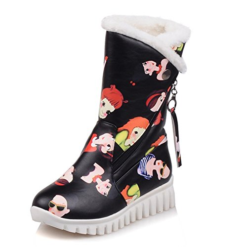 Decostain Comfort Winter Snow Warm Soft Mid Calf Faux-Fur Cartoon Boots Black 5fwOsoy