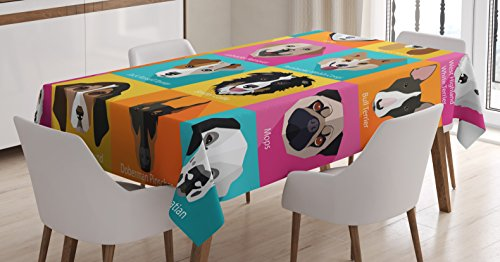 Kids Decor Tablecloth by Ambesonne, Pattern with Dogs Retro Popart Style Bulldog Hound Cartoon Print Art for Dog Lovers, Dining Room Kitchen Rectangular Table Cover, 60 X 84 Inches, Pink Blue Yellow