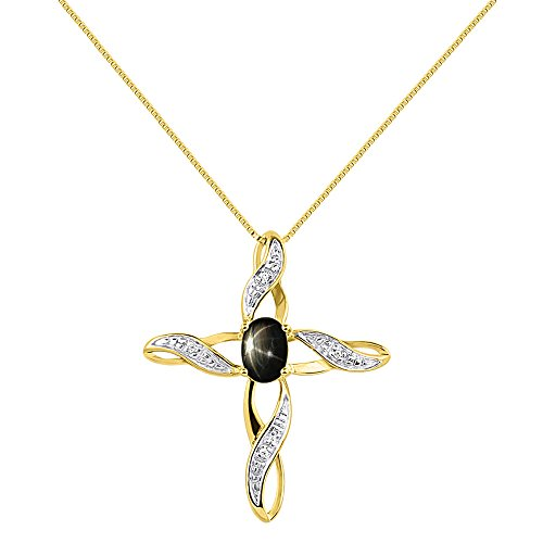 Diamond & Black Star Sapphire Cross Pendant Necklace Set In Yellow Gold Plated Silver .925 with 18