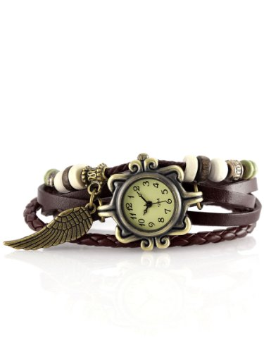 Alienwork Retro Quarz Armbanduhr Wickel Quarzuhr Uhr Armreif Kette wickeln gelb braun Leder J043-07