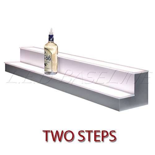 2-Step-Lighted-Liquor-Bottle-Display-Shelf-with-LED-Color-Changing-Lights-Black-White-and-Stainless-NOW-Available
