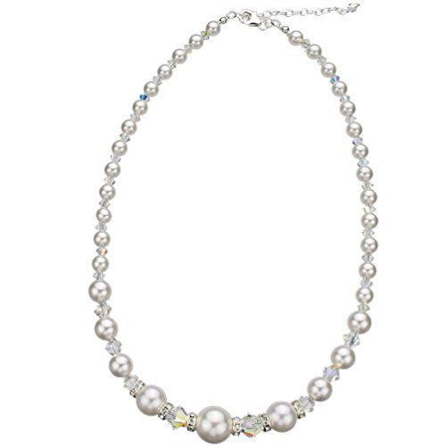 Simulated Pearls Sterling Silver Necklace, Made with Swarovski Crystals 16