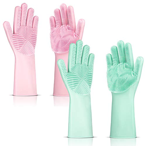 QHand Silicone Dishwashing Gloves, 2 Pairs Cleaning Gloves Reusable, Magic Silicone Scrubber Gloves,Kitchen Bathroom Household, Car Wash and Pet Care 13.5 in (Pink, Green) (Best Dish Washing Gloves)