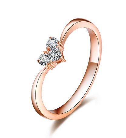 Gowe Nouvelle arrivée en forme de cœur 100% naturel véritable 0,15CT diamants Bague de fiançailles en or rose 18K (Au750)