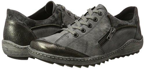 Gris schwarz Femme Sneakers 01 negro asphalt altsilber Basses Remonte R1401 qUIw8Sn