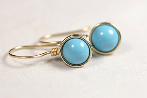 Gold Turquoise Earrings Turquoise Swarovski Pearl Earrings Yellow Gold or Rose Gold Necklace and Earrings (Rose Gold Turquoise Earrings)