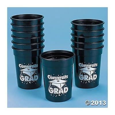 "Black ""Congrats Grad"" Plastic Cups/One Dozen/GRADUATION Party Supplies/Graduation Table Ware"