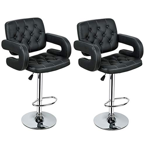 Bar Stool, GentleShower Set of 2 PU Leather Swivel Pub Chair Adjustable Height Barstools with Armrest Hydraulic,Footrest for kitchen, home, bars, office etc Black (Bar Arms With Stool Chairs)