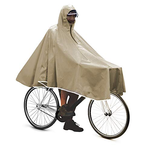 Bicycle Rain Gear - Anyoo Waterproof Rain Poncho Bike Bicycle Rain Capes Lightweight Compact Reusable for Adults Khaki