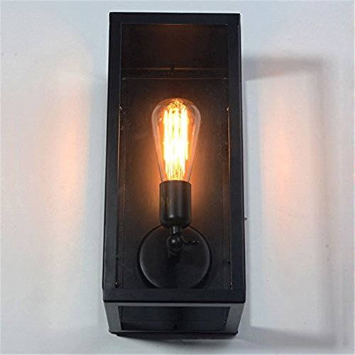 Square One Light Wall - ATC Vintage Loft Square Black One-Light Outdoor Wall Lamp with Clear Glass Box Metal Matte Black Exterior Wall Lantern
