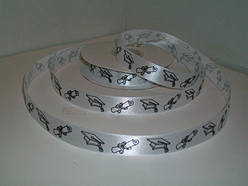 Graduation Printed Ribbon With Hat & Scroll 5/8