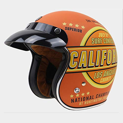 Shfmx Personalized Retro Motorcycle Helmet, Jet Open Helmet Four Seasons Unisex Motocross ATV Pilot Cruise Scooter Half Helmet · Sun Visor(Orange),M