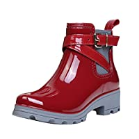 Womens Rain Boots Platform Slip On Ankle Booties Elastic Martin Short Rainy Shoes Red