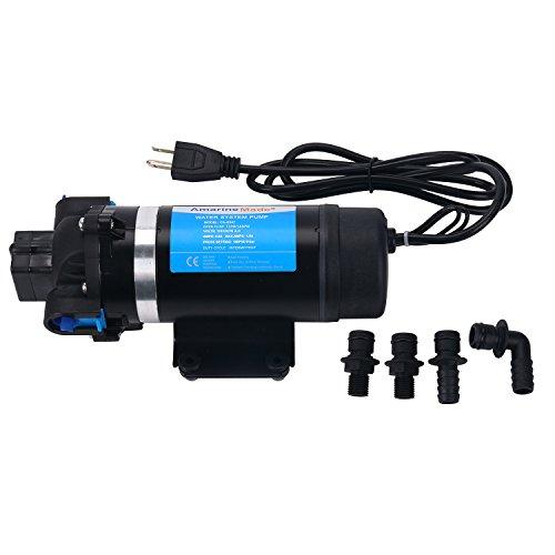Amarine-made AC 110V Self Priming Water Pressure Pump, 160PSI/11bar 7LPM AMPS:0.8A MAX.AMPS:1.5A Diaphragm Pump for Caravan/RV/Boat/Marine (DP-160S)