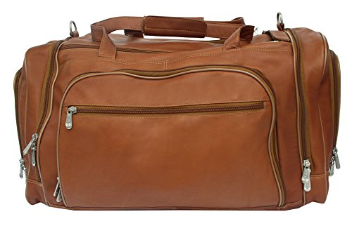 Piel Leather Multi-Compartment Duffel Bag in (Chocolate Small Rolling Luggage)
