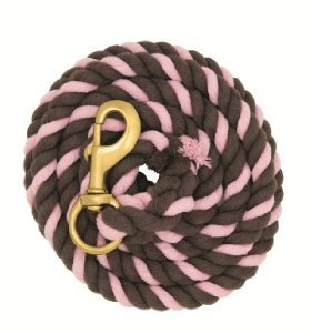 WEAVER CHOCOLATE BROWN AND PINK 10' COTTON LEAD ROPE WITH BRASS SNAP HORSE TACK