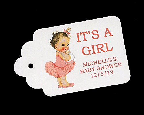 Baby Shower Favor Tags for Girls with Coral Tutu Personalized (set of 25) ()