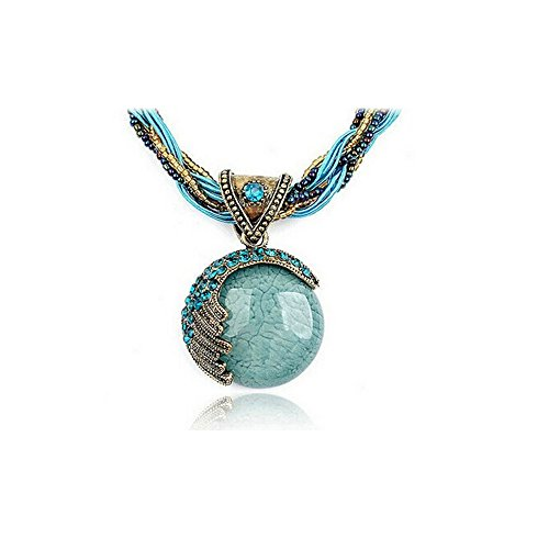 [Darkey Wang Women's Fashion Bohemia Opal Necklace Retro Clavicle Short Necklace Opal Water Droplets Necklace] (Dallas Wholesaler Costumes Jewelry)