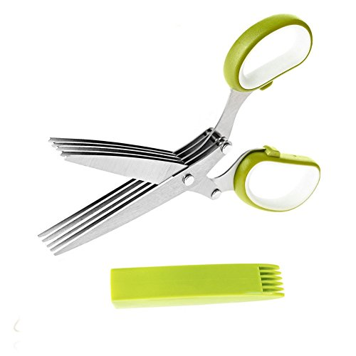 VOFO Herb scissors Stainless Steel Multipurpose Kitchen Shear with 5 Blades and Cover