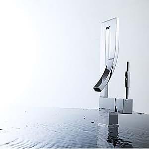 QFL Central contemporánea sola manija un agujero en el baño de cromo grifo del fregadero