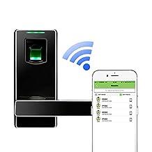 ZKTeco Bluetooth Fingerprint Biometric Smart Door Lock- Keyless Home Entry with Your Smartphone & Fingerprint (Black)