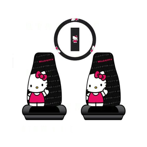 Hello Kitty 2 Car Seat Cover + Steering Wheel Cover Set- (Hello Kitty Seat Covers)