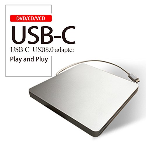 Lvaen USB-C Super drive External DVD/CD Rewriter Drive Lvaen USB C Burner for latest Mac Pro/MacBook Pro/ASUS U306UA/ASUS/DELL Latitude,Support Windows 98/XP/Win 7/8/10/Mac OS (Silver) by Lvaen (Image #1)'