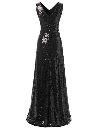 ausschnitt V Erosebridal Kleider Schwarz Abendkleider Pailletten Lange Brautjungfer qOw7t