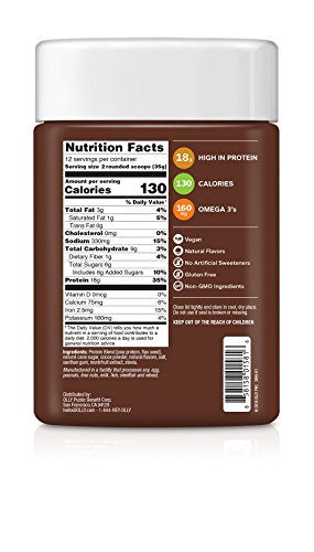 OLLY Plant Powered Protein, Protein Powder, 14.8 oz 12 Servings , Pure Chocolate, 18g Plant Protein, Vegan
