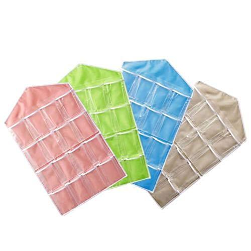 16 bolsillos Transparente sobre la puerta Bolsa colgante Almacenamiento de la suspensi/ón Organizador ordenado Para el ba/ño en casa Sala de estar Art/ículos para el hogar Azul