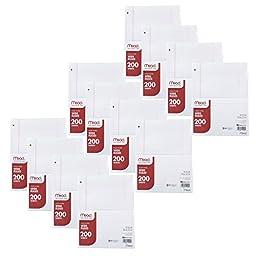 Mead Filler Paper, Loose Leaf Paper, Wide Ruled, 200 Sheets, 12 Packs (15200)