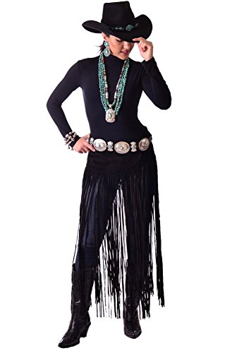 Exquisite-One-of-Kind-Hand-Cut-and-Handmade-Black-Suede-Belt-Western-Wear-with-Long-Fringe