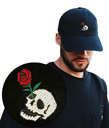 Riot Society Skull Rose Embroidered Mens Adjustable Dad Hat ()